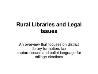 Rural Libraries and Legal Issues