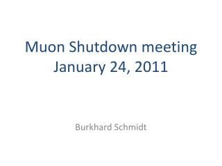 Muon  Shutdown meeting  January  24 ,  2011