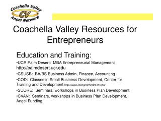 Coachella Valley Resources for Entrepreneurs