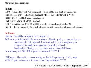 Material procurement Panels 1300 produced (over 5700 planned) – Stop of the production in August
