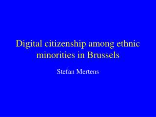 Digital citizenship among ethnic minorities in Brussels