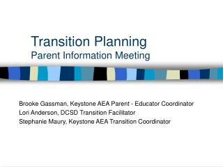 Transition Planning Parent Information Meeting