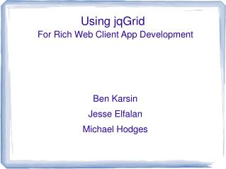 Using jqGrid