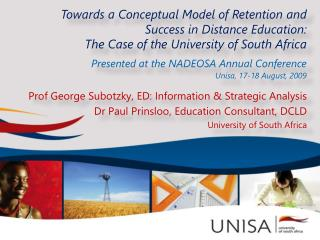 Towards a Conceptual Model of Retention and Success in Distance Education: