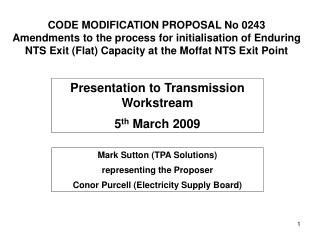 Presentation to Transmission Workstream 5 th  March 2009