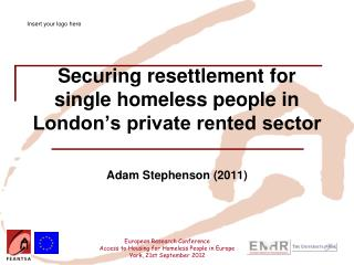 Securing resettlement for single homeless people in London's private rented sector