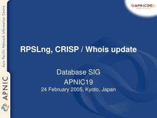 RPSLng, CRISP / Whois update