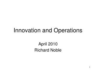 Innovation and Operations