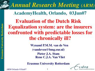 Annual Research Meeting  (ARM)