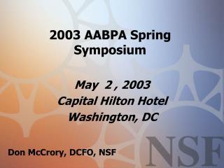 2003 AABPA Spring Symposium