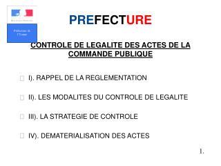 PRE FECT URE CONTROLE DE LEGALITE DES ACTES DE LA COMMANDE PUBLIQUE