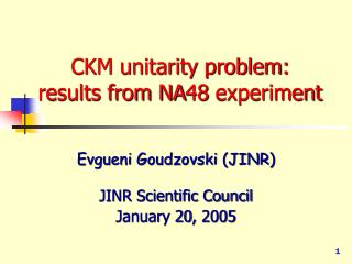 CKM unitarity problem: results from NA48 experiment