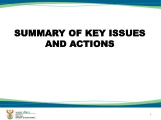 SUMMARY OF KEY ISSUES AND ACTIONS
