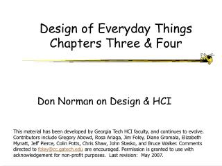 Design of Everyday Things Chapters Three & Four