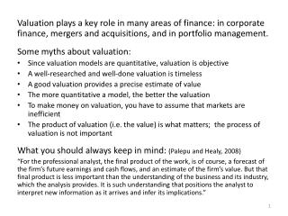 Approaches to valuation Discounted cash flow (DCF) valuation