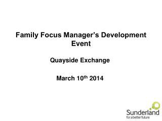 Family Focus Manager's Development Event