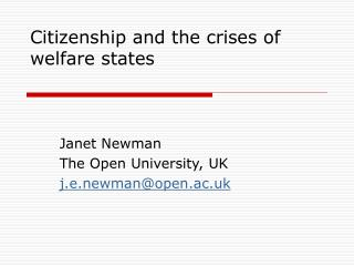 Citizenship and the crises of welfare states
