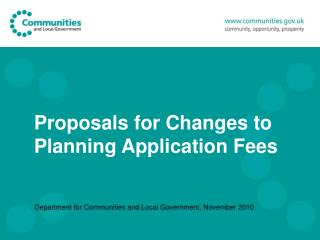 Proposals for Changes to Planning Application Fees