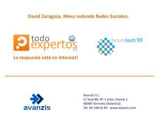 David Zaragoza. Mesa redonda Redes Sociales.