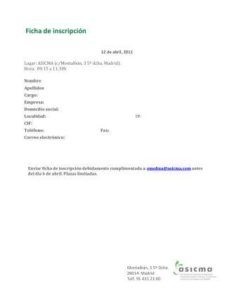 Ficha de inscripción