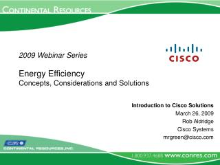 2009 Webinar Series Energy Efficiency  Concepts, Considerations and Solutions