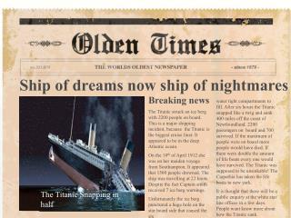 Ship of dreams now ship of nightmares