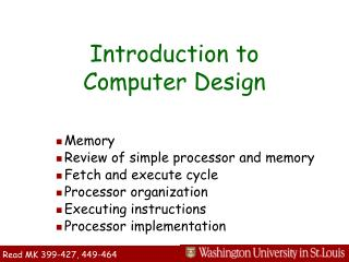 Introduction to  Computer Design