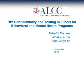 HIV Confidentiality and Testing in Illinois for Behavioral and Mental Health Programs