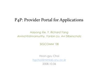 P4P: Provider Portal for Applications