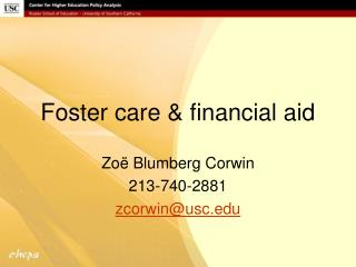 Foster care & financial aid