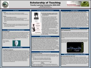 Scholarship of Teaching Faculty Learning Community 2008-2009 Mitch Watnik, Faculty-In-Residence