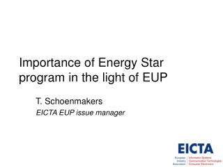 Importance of Energy Star program in the light of EUP