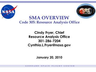 SMA OVERVIEW  Code 305: Resource Analysis Office