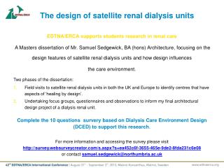 The  design  of satellite renal dialysis units