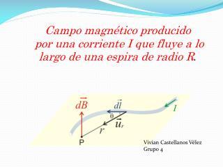 Campo  magnético  producido por una corriente I que fluye a lo largo de una espira de radio R .