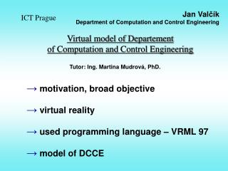 Virtual model of Departement  of Computation  and  Control Engineering