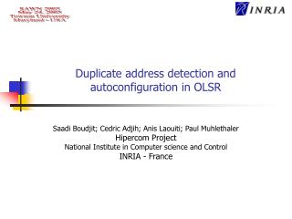 Duplicate address detection and autoconfiguration in OLSR