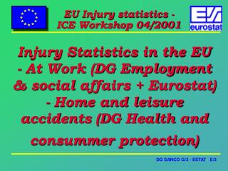 Injury Statistics in the EU - At Work DG Employment  social affairs  Eurostat - Home and leisure accidents DG Health and