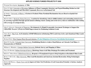 APPLIED SCIENCE FUNDED PROJECTS FY 2006