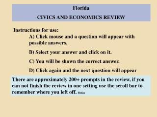 Florida CIVICS AND ECONOMICS REVIEW