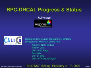 RPC-DHCAL Progress & Status