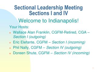Sectional Leadership Meeting Sections I and IV