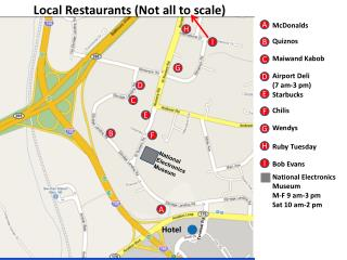 Local Restaurants (Not all to scale)