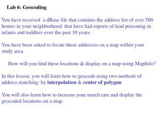 Lab 6: Geocoding