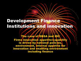 Development Finance Institutions and innovation