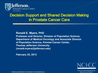 Decision Support and Shared Decision Making in Prostate Cancer Care