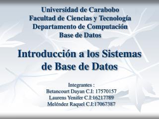 Introducción a los Sistemas de Base de Datos