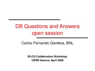 DB Questions and Answers open session