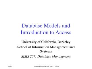 Database Models and Introduction to Access