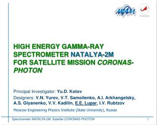 HIGH ENERGY GAMMA-RAY SPECTROMETER  NATALYA-2 М FOR SATELLITE MISSION  CORONAS-PHOTON